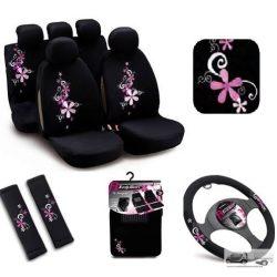 Csajos autó szett (4db): Bottari Bouquet kis virágos Üléshuzat, Kormányvédő, Öv párna , Autószőnyeg