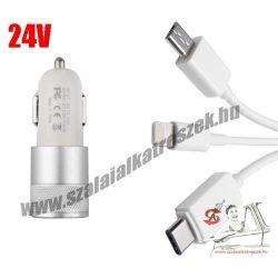 2-es USB töltő M-USB/Apple/Type-C 2.1A 12/24V