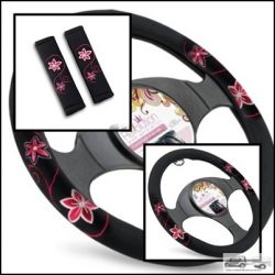 Csajos autó szett: kormányvédő + övpárna MyOriental Rózsaszín virág