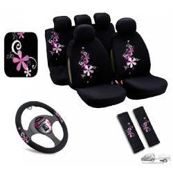 Csajos autó szett (3db) - Bottari Bouquet kis virágos üléshuzat, kormányvédő, övpárna
