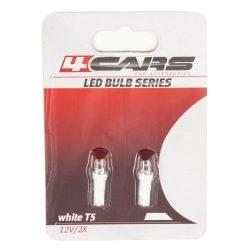 Led Izzó, műszerfal T5, 12V, 1W, 1 LED, fehér (2db)
