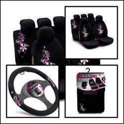 Csajos autó szett (3db): Bottari Bouquet kis virágos Üléshuzat, Kormányvédő, Autószőnyeg