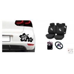Fehér virágos nagy autós szett (huzat,kormányvédő, szönyeg, )  MATRICÁVAL