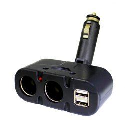Kettes Szivargyújtó elosztó + USB
