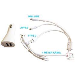 2-es USB töltő M-USB/Apple/Type-C 12V 2.1A