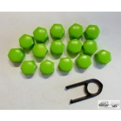 Kerékanya kupak - zöld- 17mm (21db)