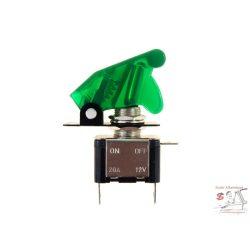 Billenőkapcsoló, zöld, 12V, 20A