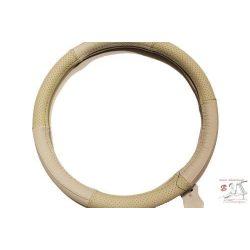 Valódi bőr kormányvédő-lyukacsos mintával bézs színben, 38cm