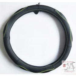 Valódi bőr kormányvédő zöld díszcsíkkal -38cm