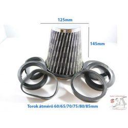 Direkt szűrő / Sport levegőszűrő karbon 125x145 Torok átmérő: 85/80/75/70/75/65/60