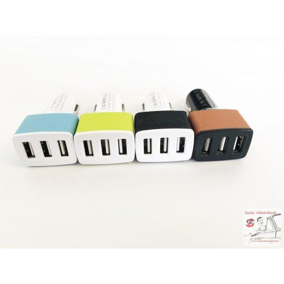 3-as USB töltő elosztó USBx3 12/24v  2,1A , 2,0A , 1,0A  csatlakozók