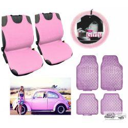 Rózsaszín Autó Szett : Trikó üléshuzat, Szőrös kormányvédő, rózsaszín gumiszőnyeg garnitúra