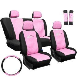 Csajos üléshuzat szett (3db) rózsaszín,Pink /fekete Autop üléshuzat garnitúra, kormányvédő, övpárna