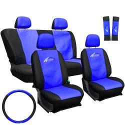 Univerzális üléshuzat szett kék -fekete (3db) Üléshuzat, kormányvédő, övpárna