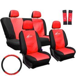 Univerzális üléshuzat szett piros -fekete: üléshuzat, kormányvédő, övpárna