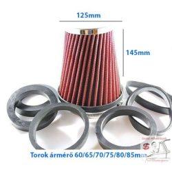 Direkt szűrő / Sport levegőszűrő piros 125x145 Torok átmérő: 85/80/75/70/75/65/60
